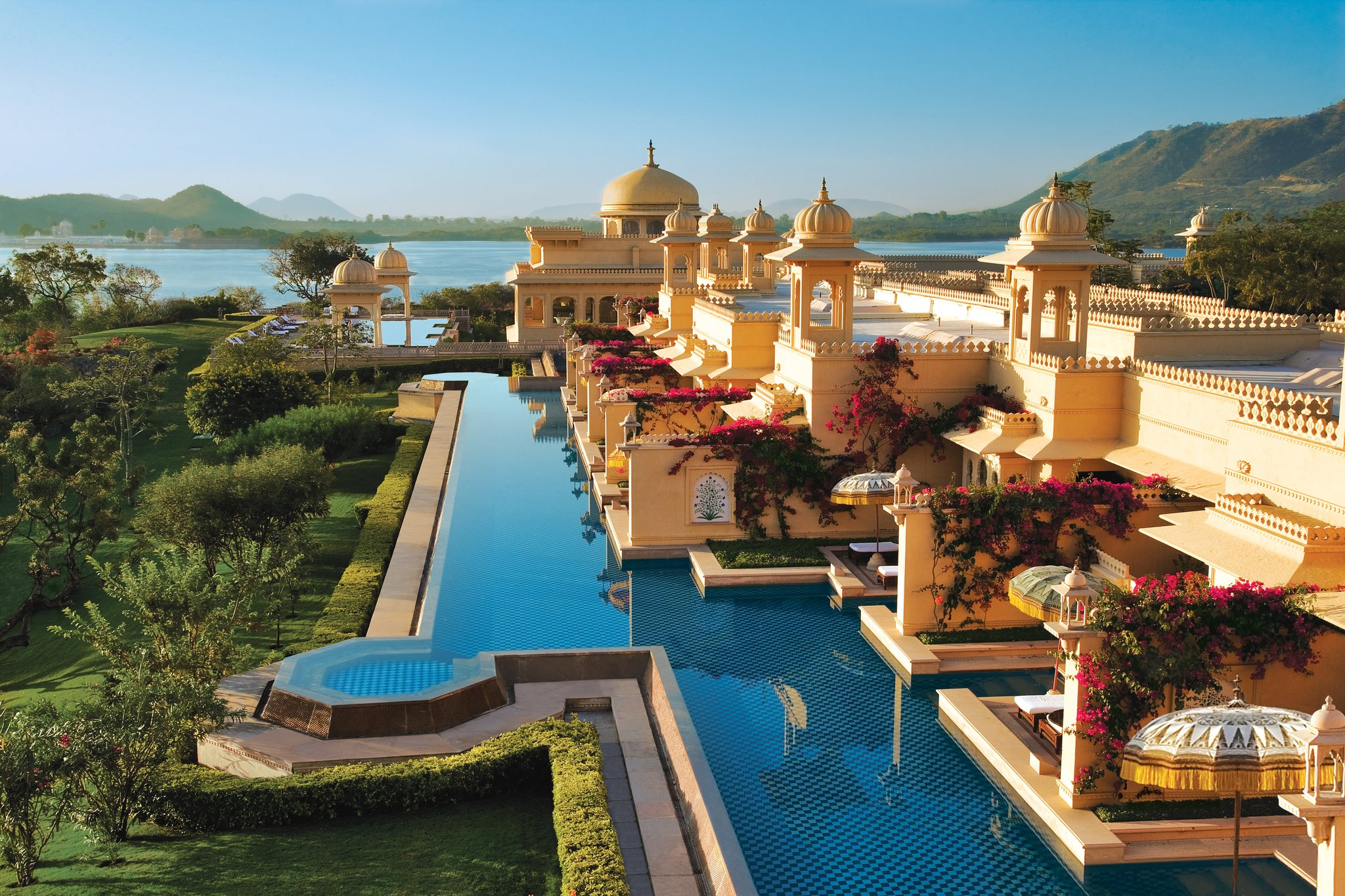 Sunrise over the deluxe rooms with semi private pool at the luxurious honeymoon destination Udaivilâs Oberoi Hotel. Udaipur.