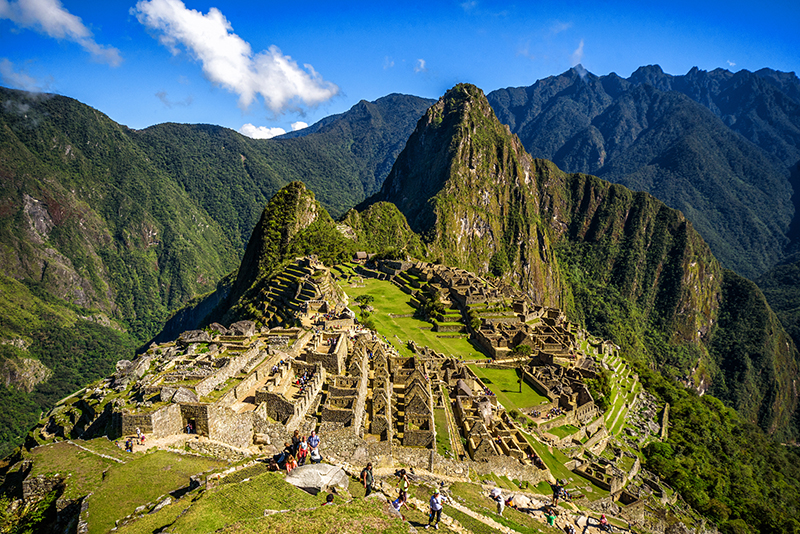 View of the Lost Incan City of Machu Picchu near Cusco, Peru