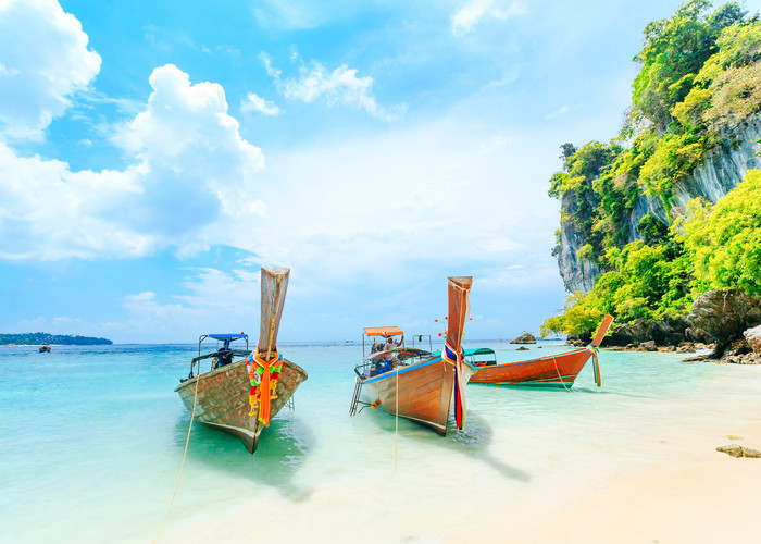 Phuket beachfront with boats